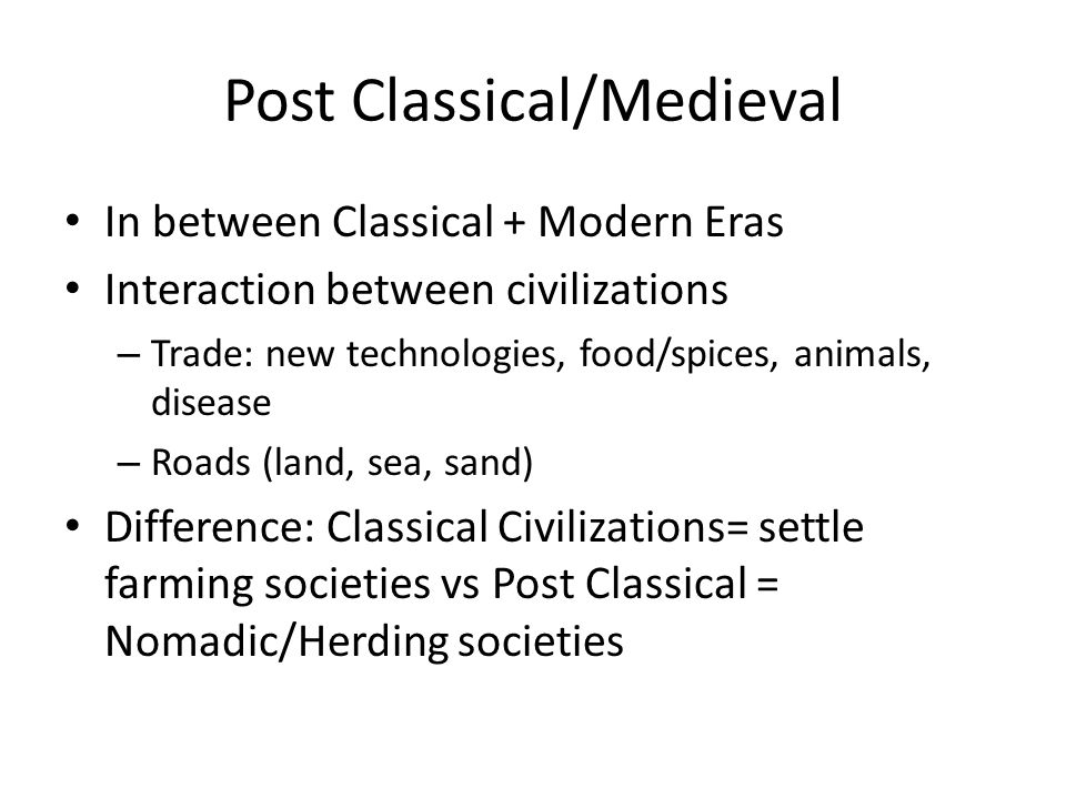 Post Classical/Medieval