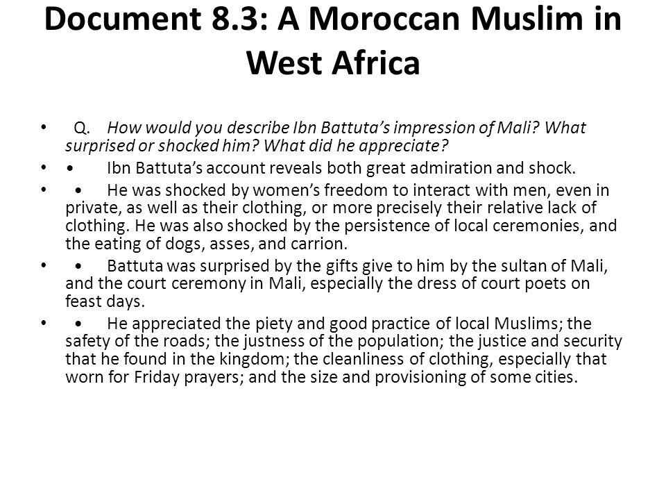 Document 8.3: A Moroccan Muslim in West Africa
