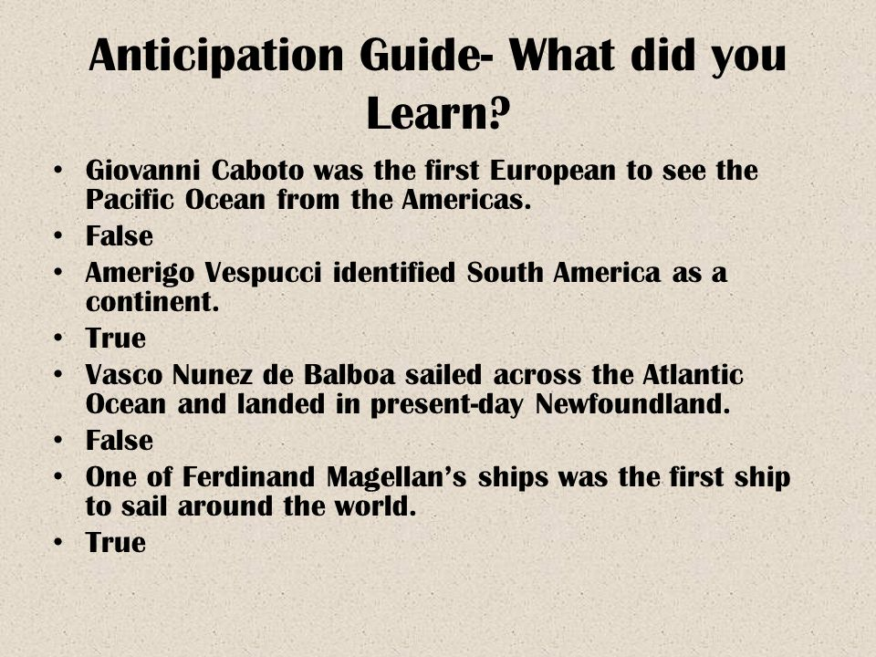 Anticipation Guide- What did you Learn