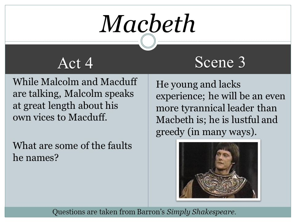 macbeth act 3 4 2015-06-02 act 4 tasks: task 1: why does macbeth decide to kill macduff's family is this decision necessary macbeth's decision in executing macduff's family was for his own benefit, committing an offense where.