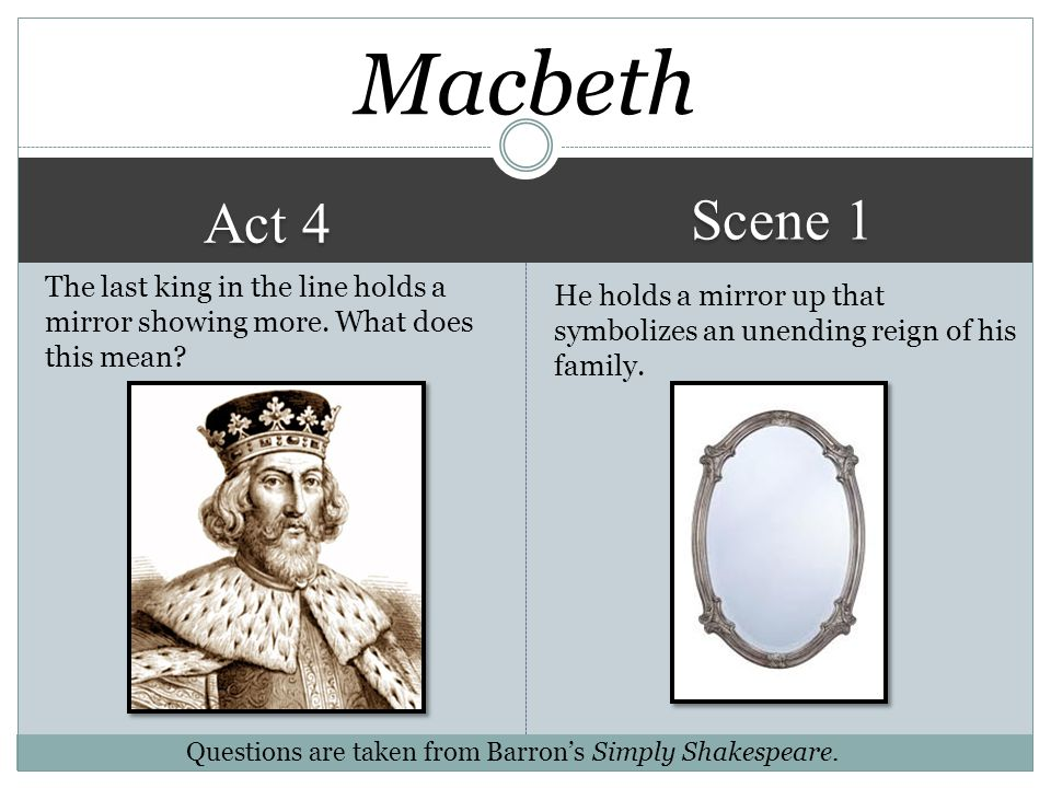 Macbeth Scene 1. Act 4. The last king in the line holds a mirror showing more. What does this mean