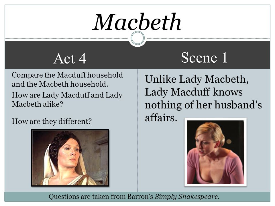 macbeth act 4 scene 1 answers In act iv, scene 1 of macbeth, the witches tell macbeth that a) he must beware macduff, b) he cannot be killed by anyone who is born of a woman, and c) that he will not be van quished until .