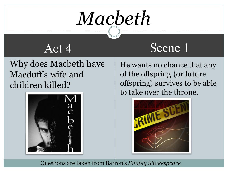 Macbeth Scene 1. Act 4. Why does Macbeth have Macduff's wife and children killed