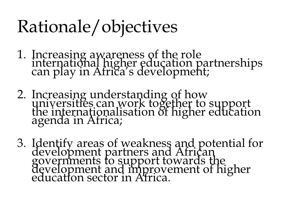 Rationale/objectives