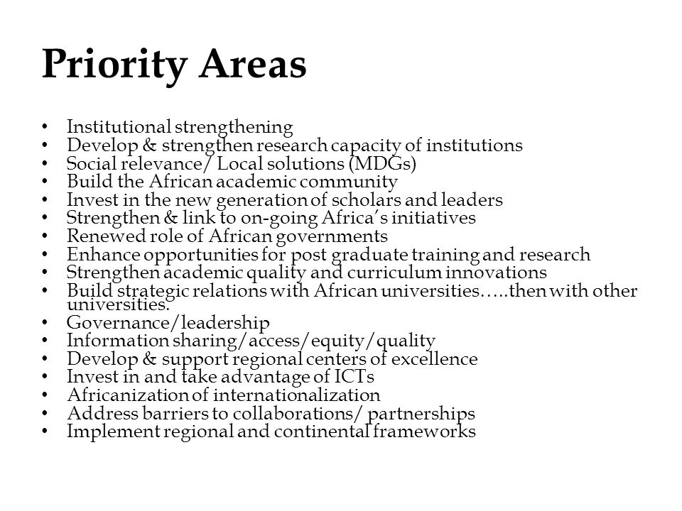 Priority Areas Institutional strengthening