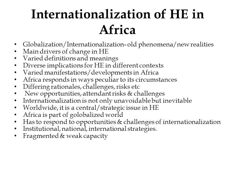 Internationalization of HE in Africa