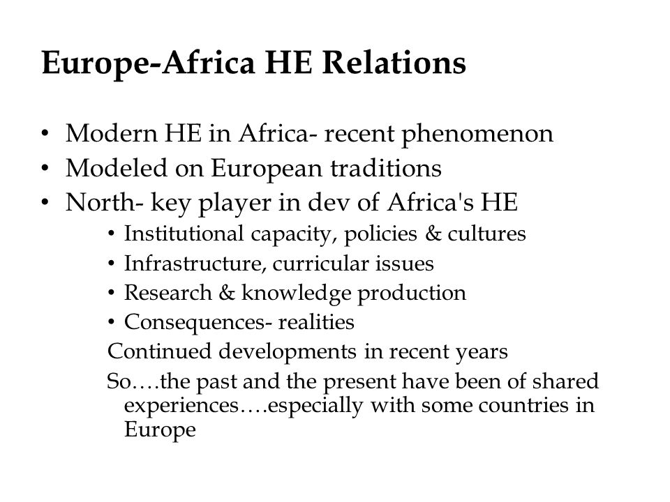 Europe-Africa HE Relations