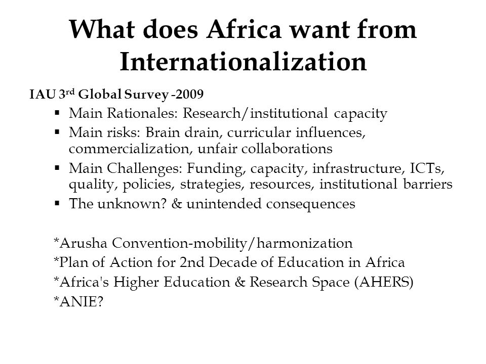 What does Africa want from Internationalization
