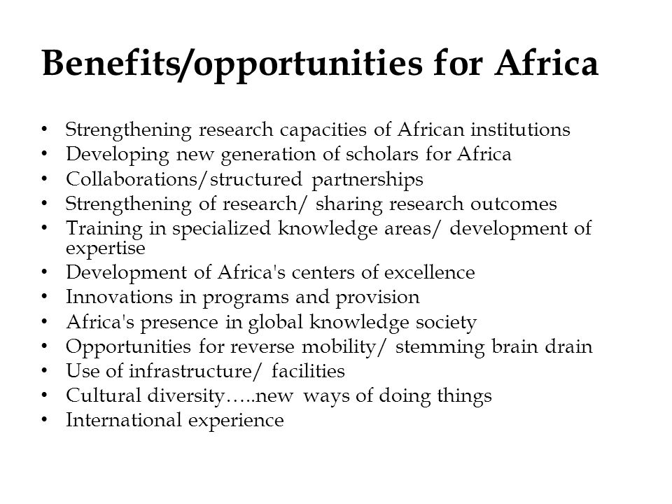 Benefits/opportunities for Africa
