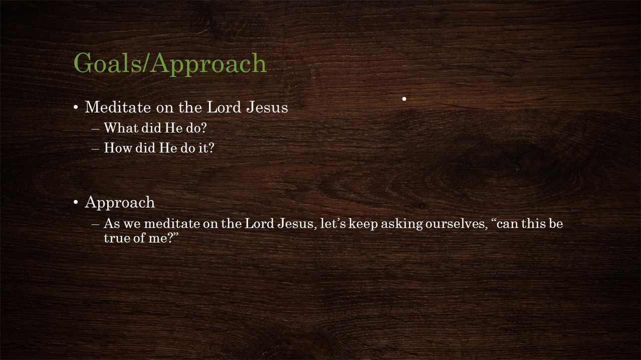 Goals/Approach Meditate on the Lord Jesus Approach What did He do