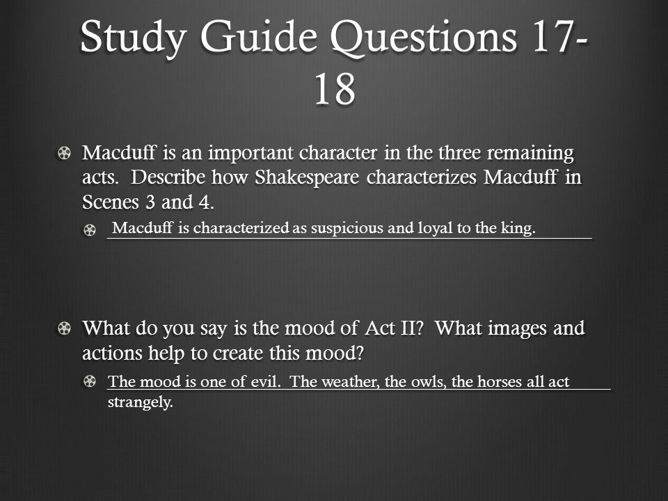 Study Guide Questions 17-18
