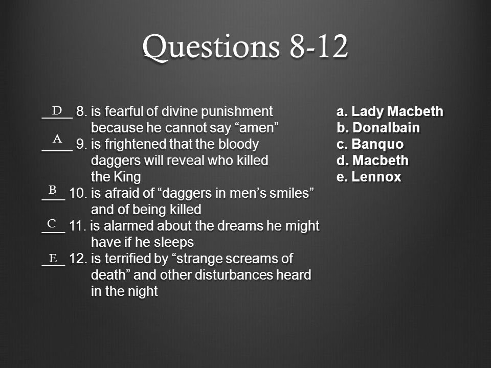 Questions 8-12