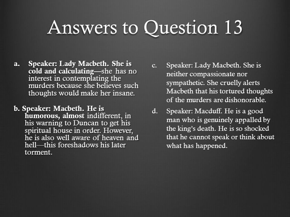 Answers to Question 13
