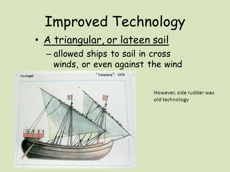 Improved Technology A triangular, or lateen sail