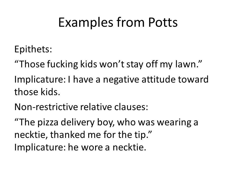 Examples from Potts
