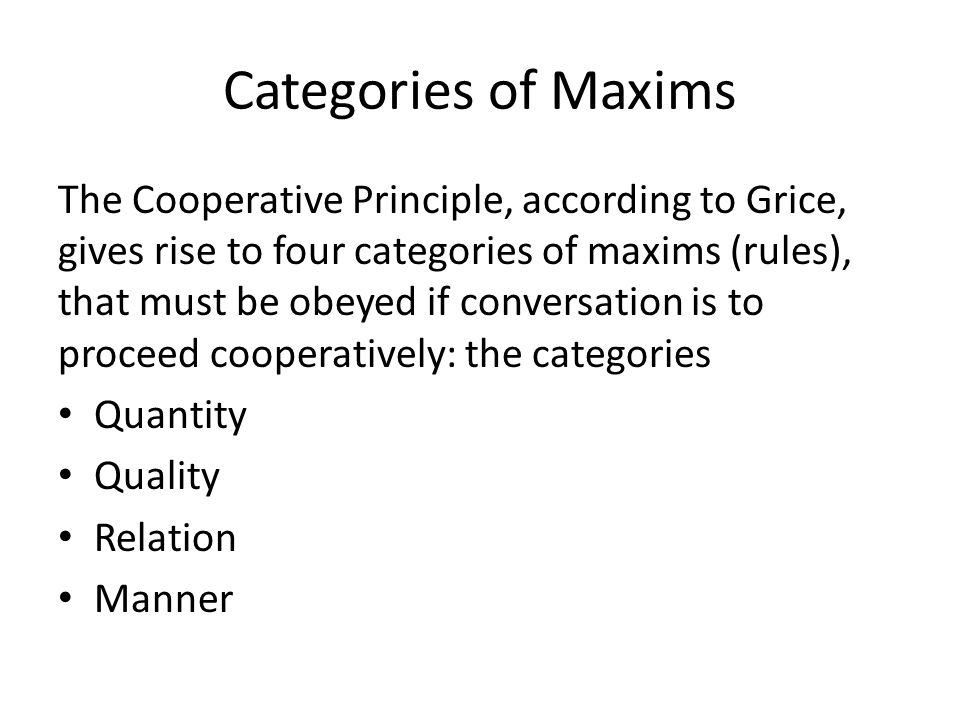Categories of Maxims