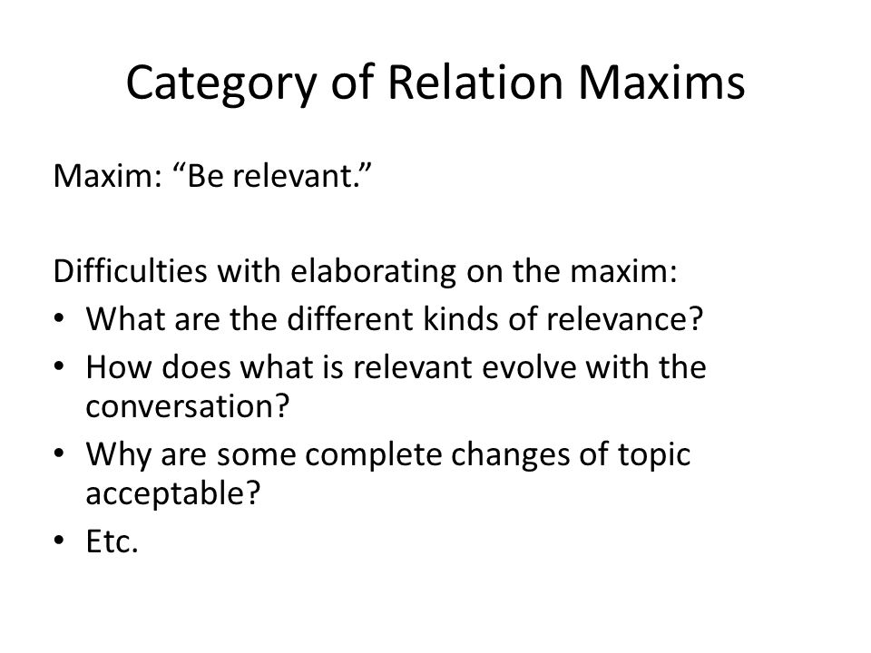 Category of Relation Maxims