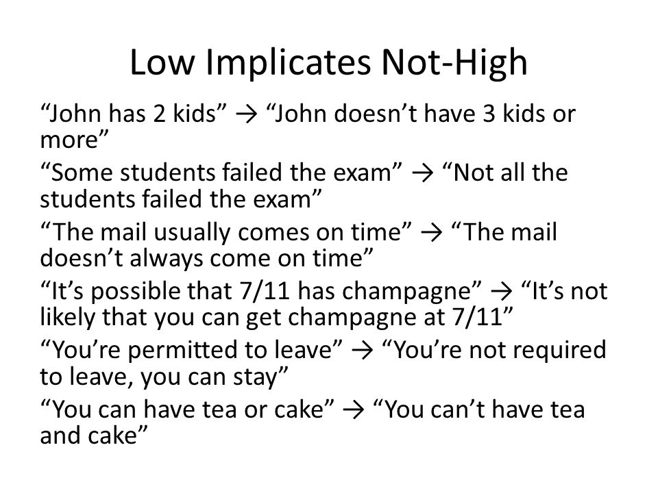 Low Implicates Not-High