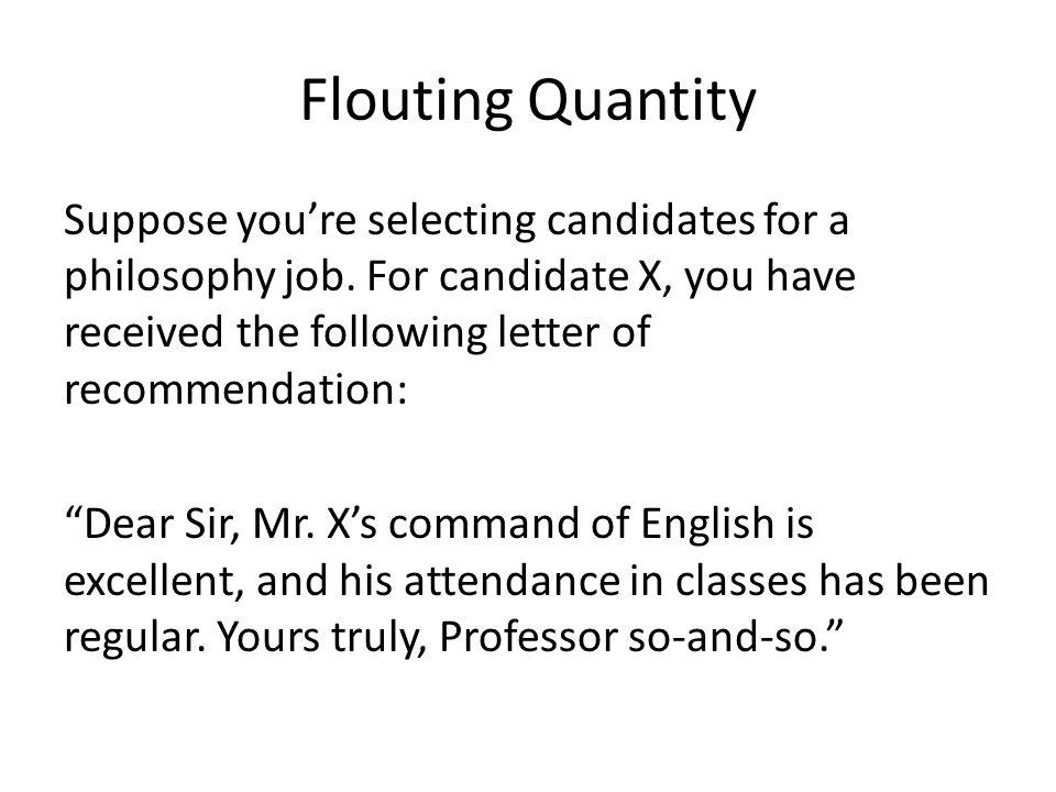 Flouting Quantity