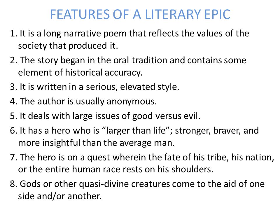 FEATURES OF A LITERARY EPIC