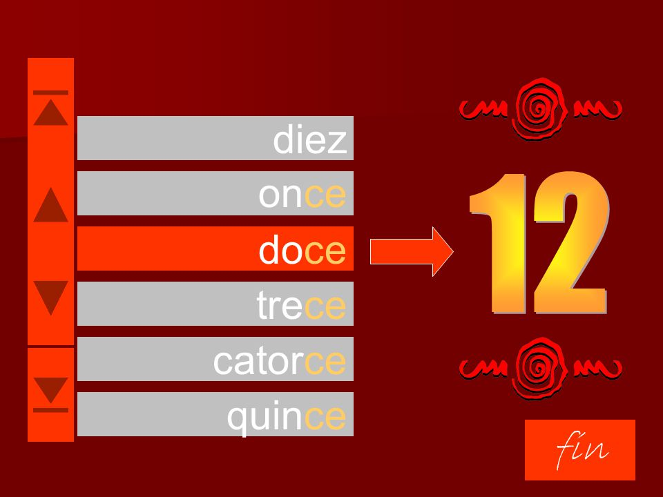 diez once 12 doce trece catorce quince fin