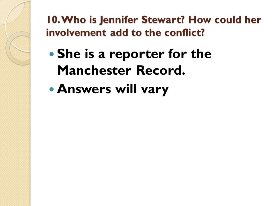 She is a reporter for the Manchester Record. Answers will vary