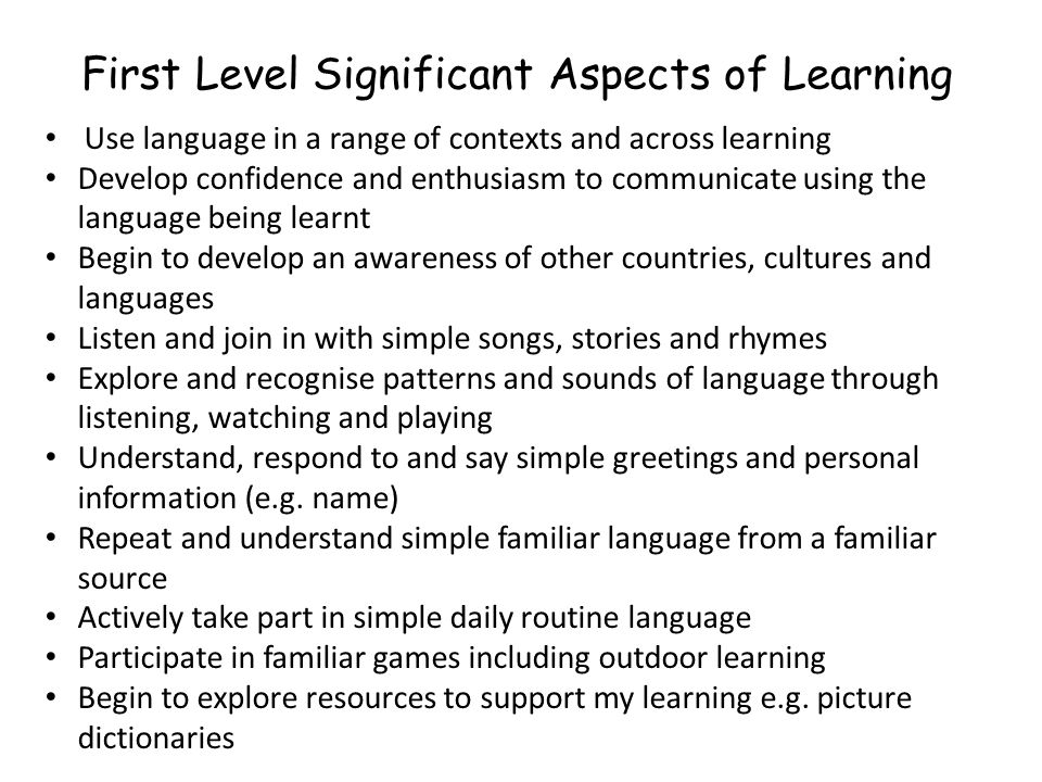 First Level Significant Aspects of Learning