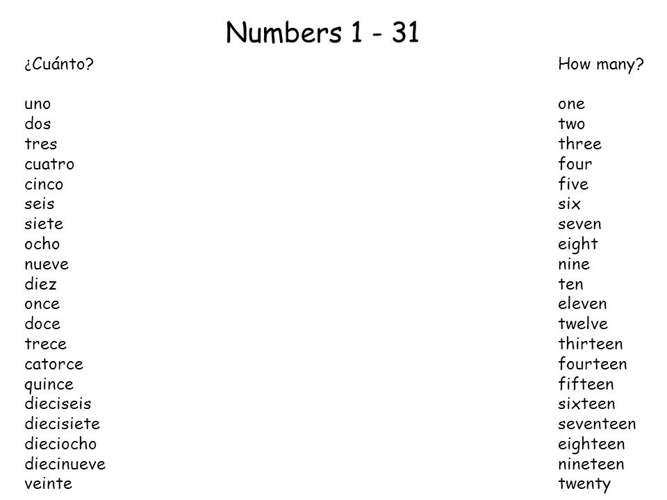 Numbers 1 - 31 ¿Cuánto How many uno one dos two tres three