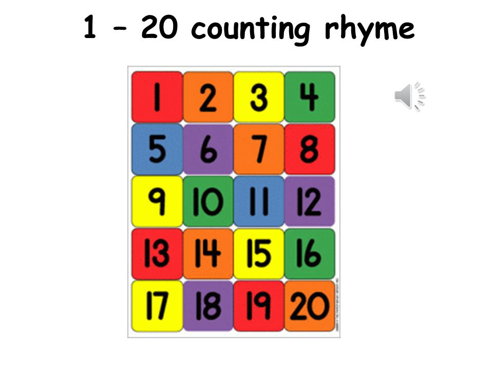 1 – 20 counting rhyme Listen to the counting rhyme and get the class to repeat in the gaps.