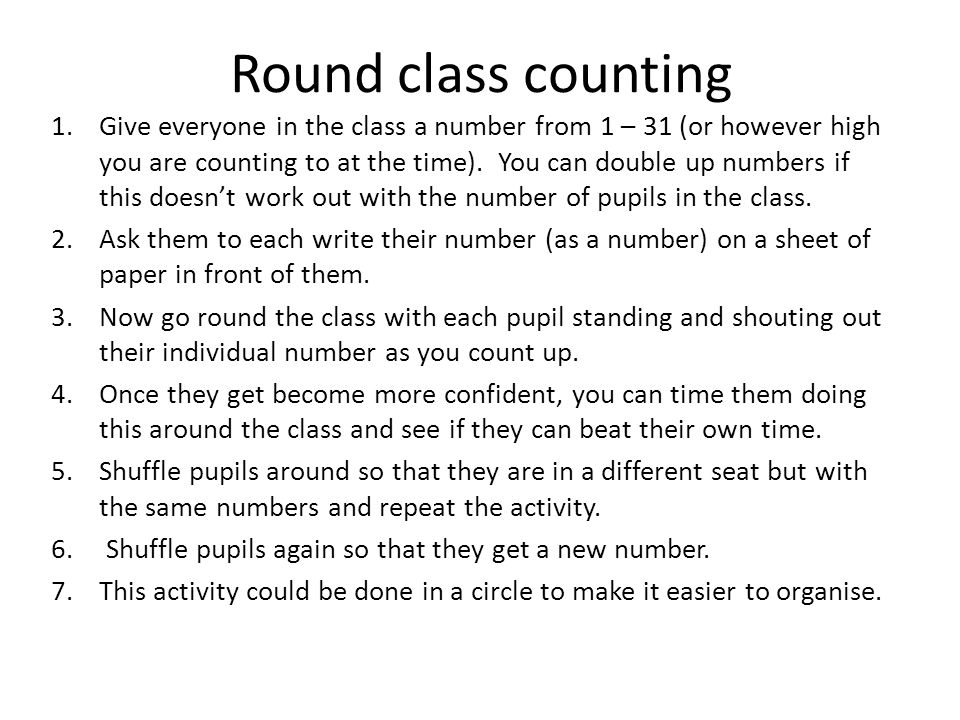 Round class counting