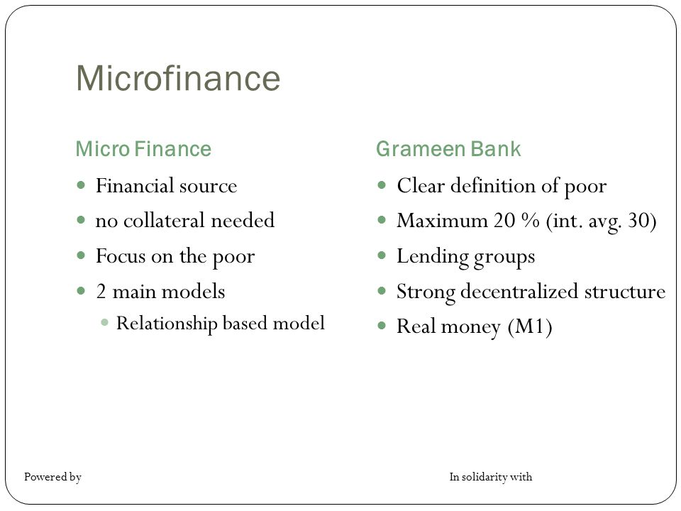 Microfinance Financial source no collateral needed Focus on the poor