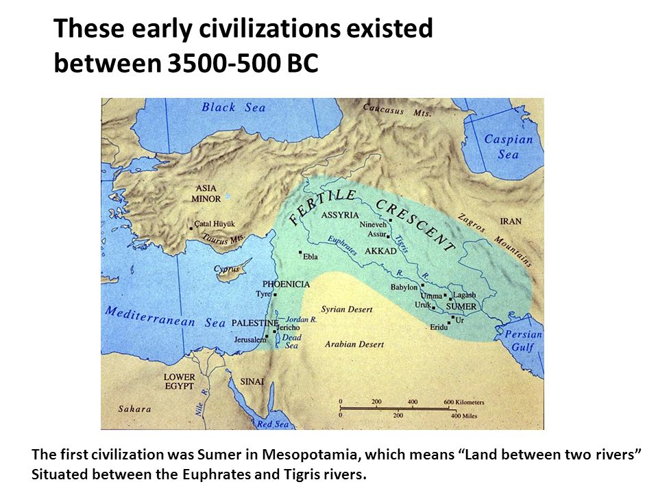 These early civilizations existed between 3500-500 BC