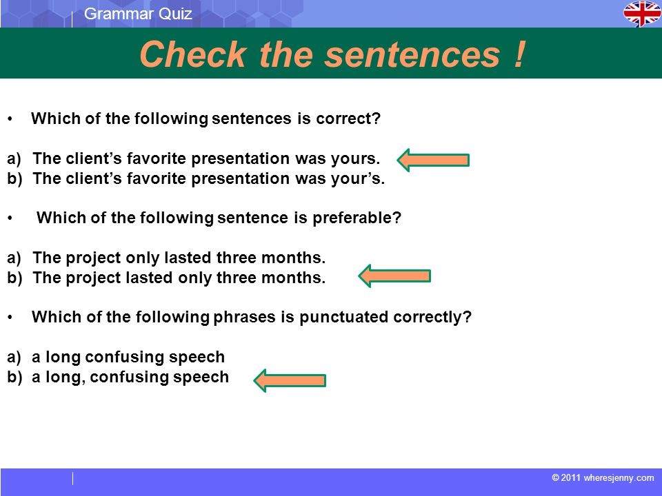 Check the sentences ! Grammar Quiz