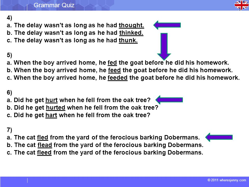 Grammar Quiz 4) a. The delay wasn t as long as he had thought. b. The delay wasn t as long as he had thinked.