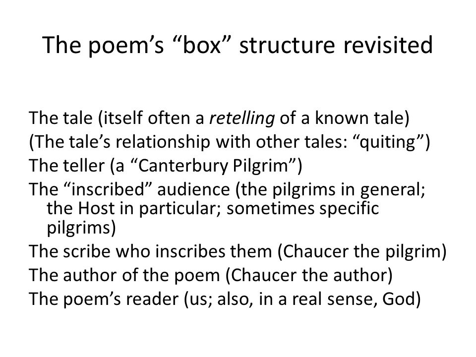 The poem's box structure revisited