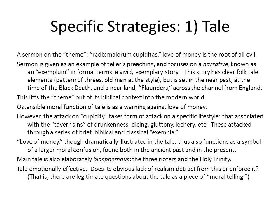 Specific Strategies: 1) Tale