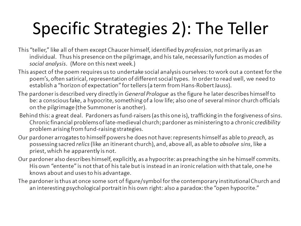 Specific Strategies 2): The Teller