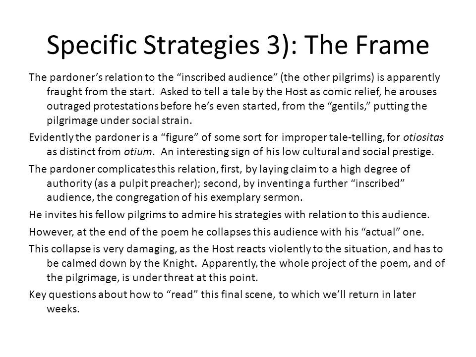 Specific Strategies 3): The Frame