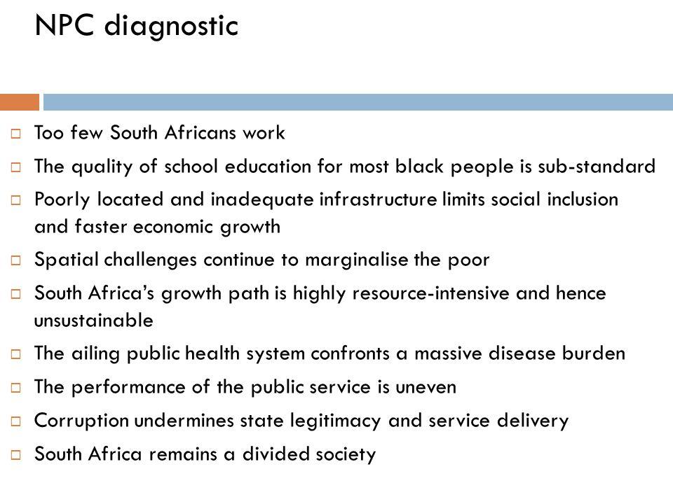 NPC diagnostic Too few South Africans work