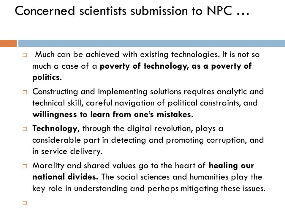 Concerned scientists submission to NPC …