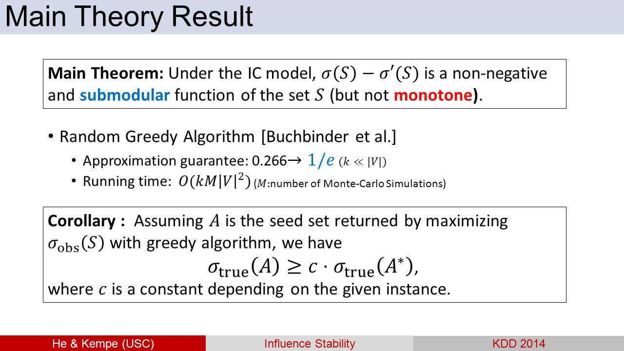Main Theory Result He & Kempe (USC) Influence Stability. KDD 2014.