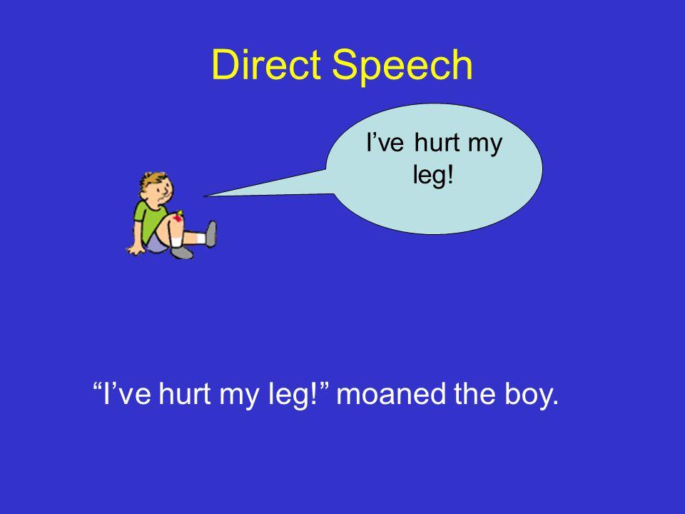 Direct Speech I've hurt my leg! I've hurt my leg! moaned the boy.