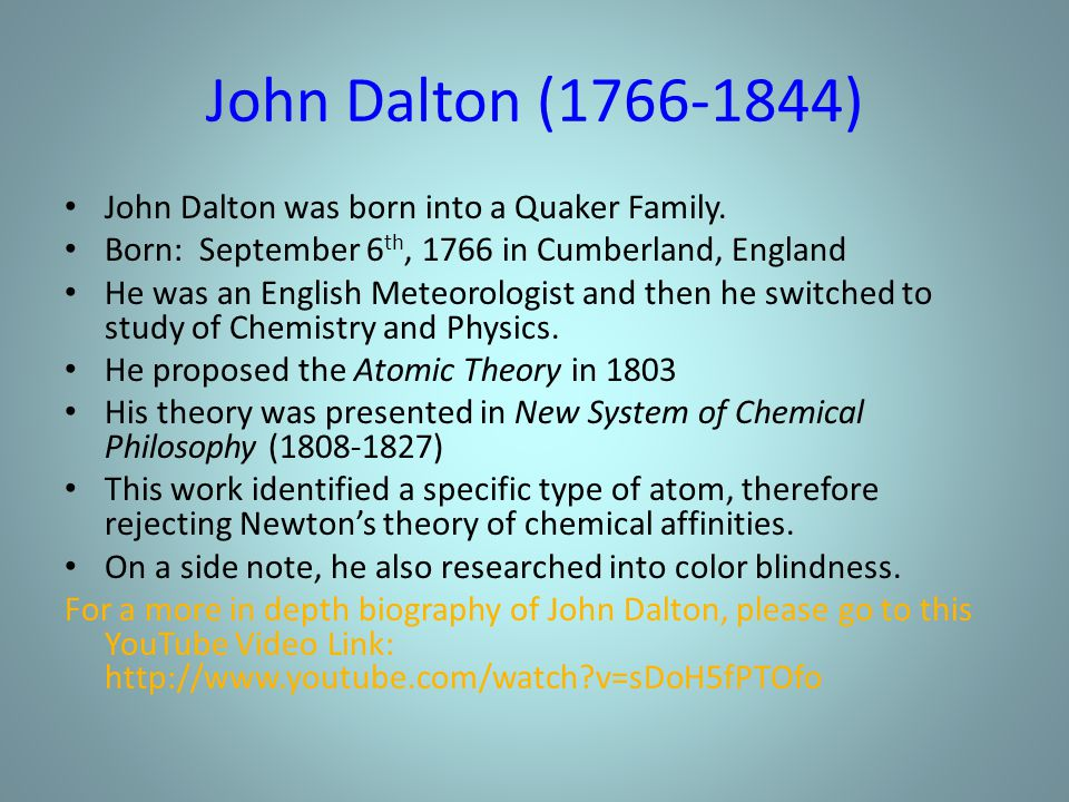 the life and works of john dalton