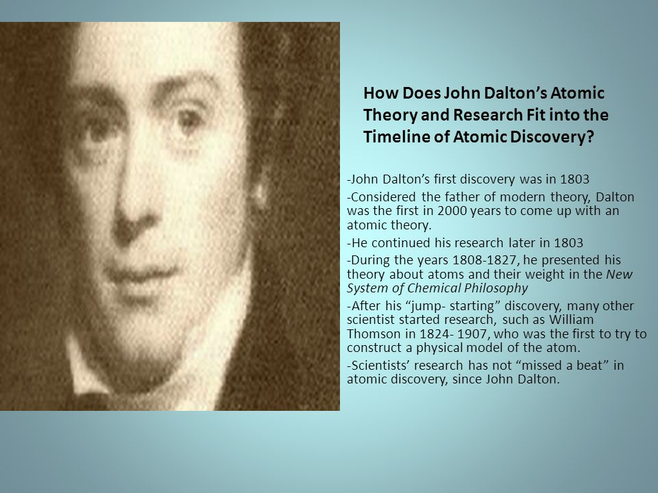 How Does John Dalton's Atomic Theory and Research Fit into the Timeline of Atomic Discovery