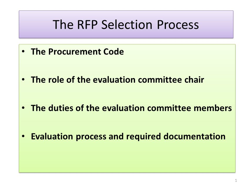 The RFP Selection Process