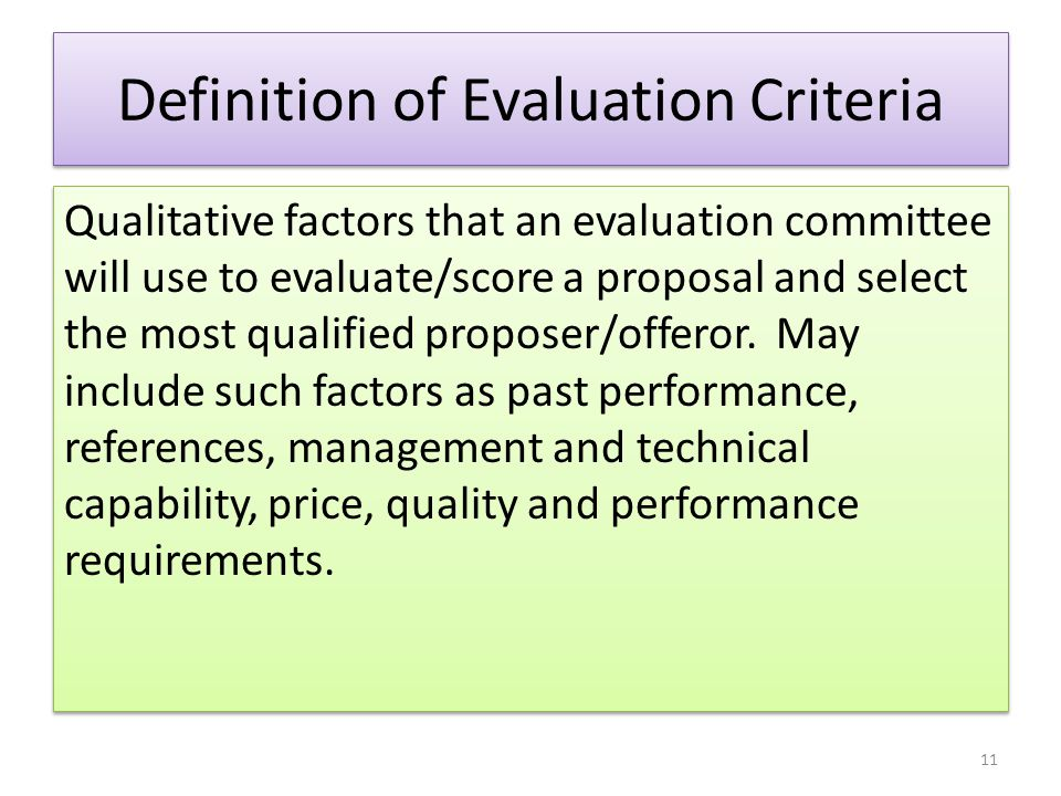 Definition of Evaluation Criteria