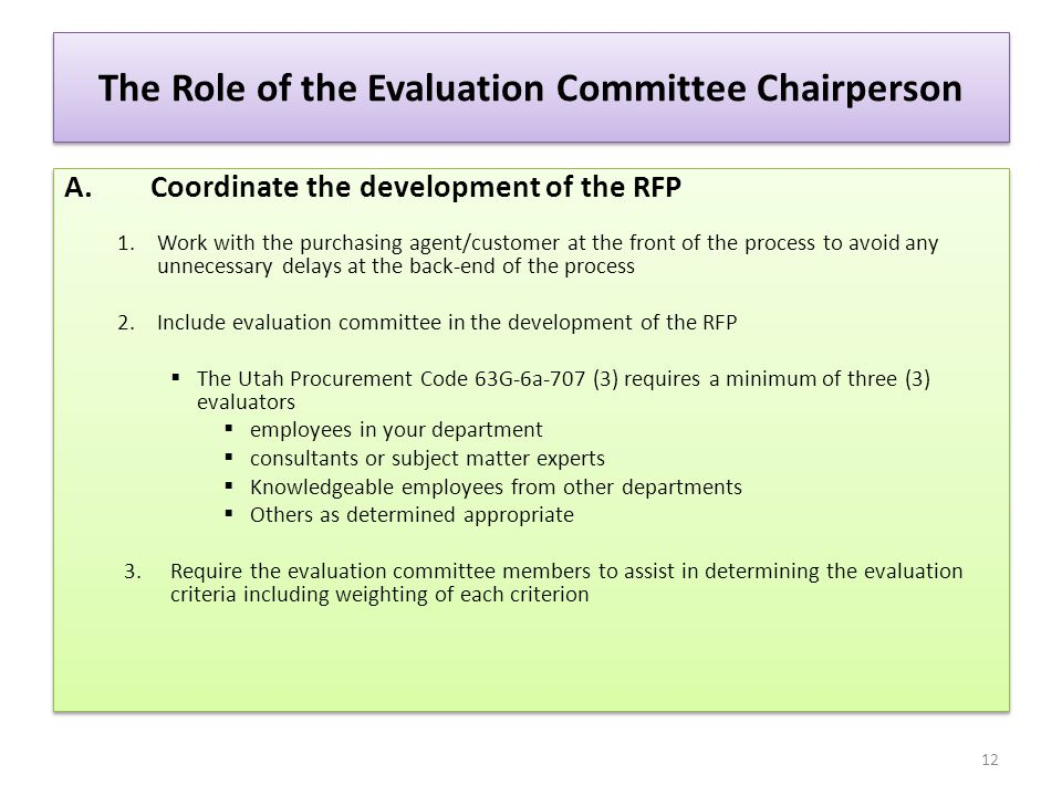 The Role of the Evaluation Committee Chairperson