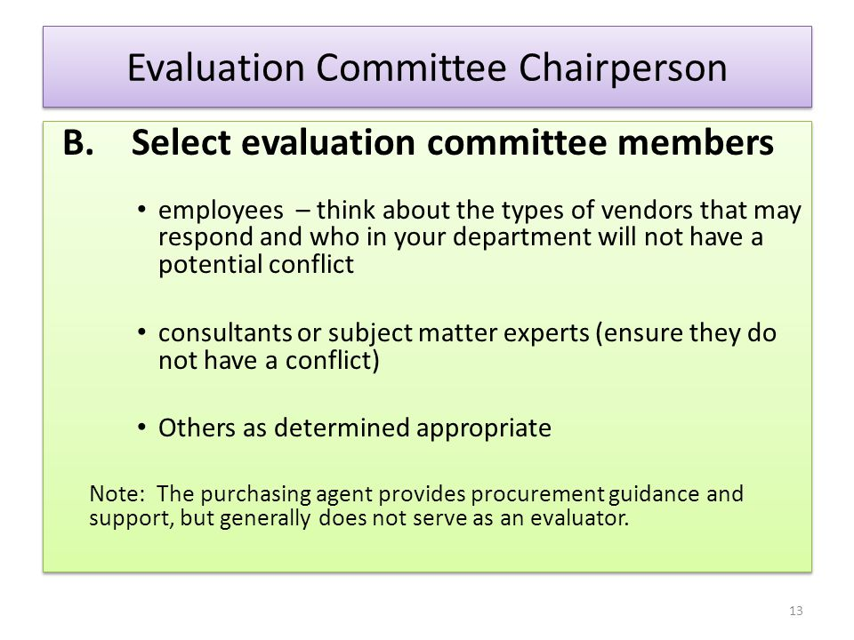 Evaluation Committee Chairperson