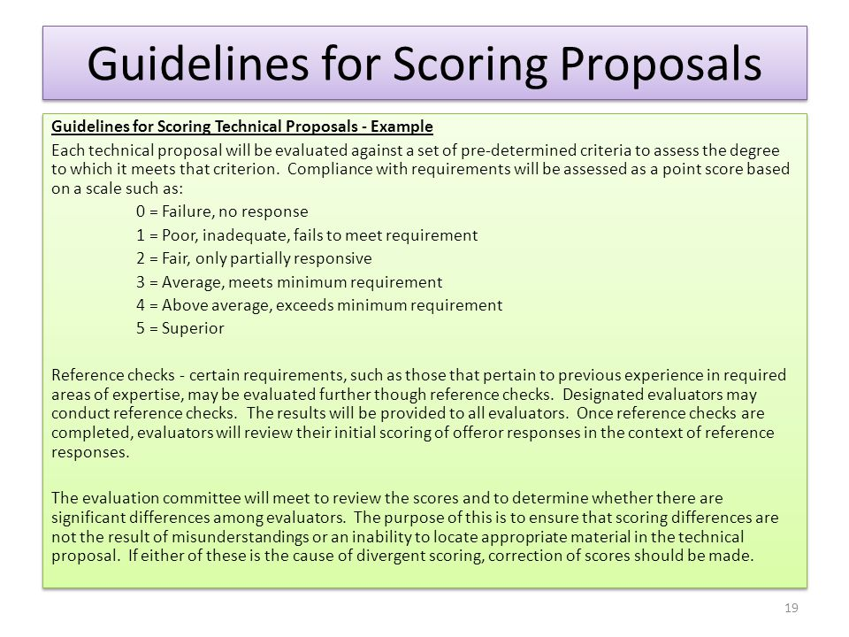 Guidelines for Scoring Proposals