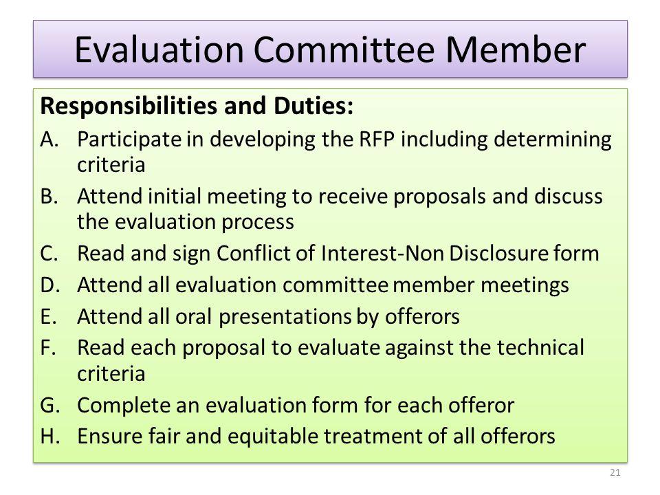 Evaluation Committee Member